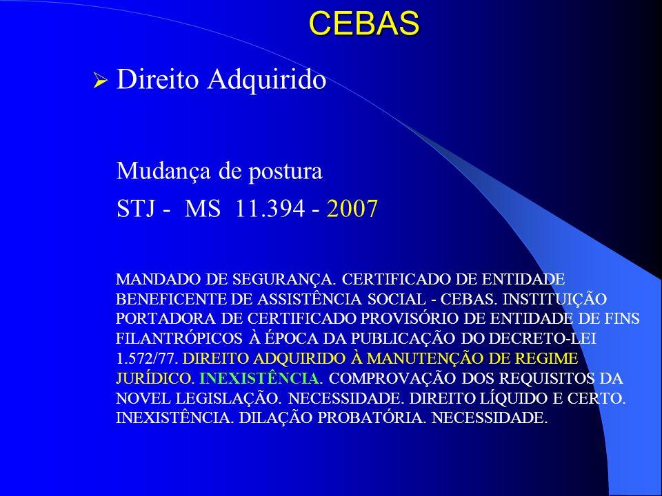 CEBAS Direito Adquirido Mudança de postura STJ - MS 11.394 - 2007 MANDADO DE SEGURANÇA. CERTIFICADO DE ENTIDADE BENEFICENTE DE ASSISTÊNCIA SOCIAL - CE