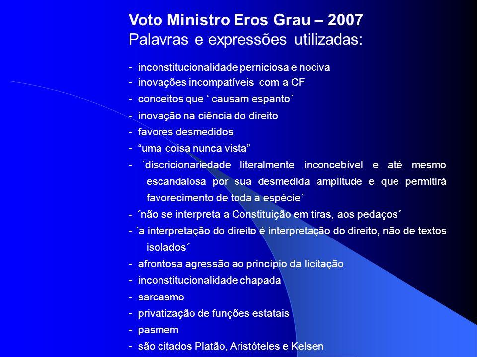 Voto Ministro Eros Grau – 2007 Palavras e expressões utilizadas: - inconstitucionalidade perniciosa e nociva - inovações incompatíveis com a CF - conc