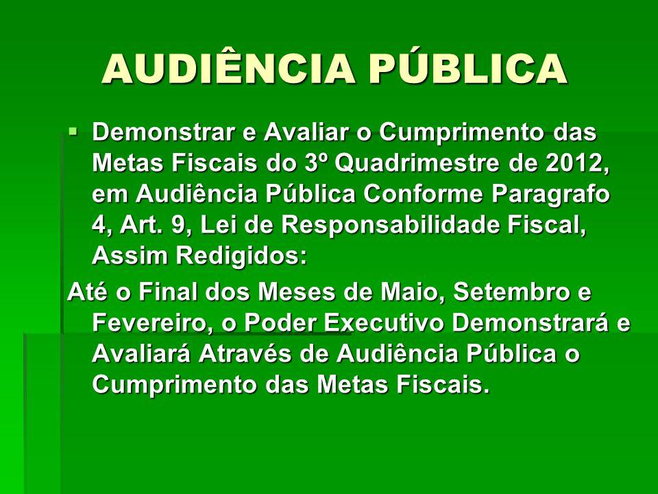 AUDIÊNCIA PÚBLICA Demonstrar e Avaliar o Cumprimento das Metas Fiscais do 3º Quadrimestre de 2012, em Audiência Pública Conforme Paragrafo 4, Art. 9,