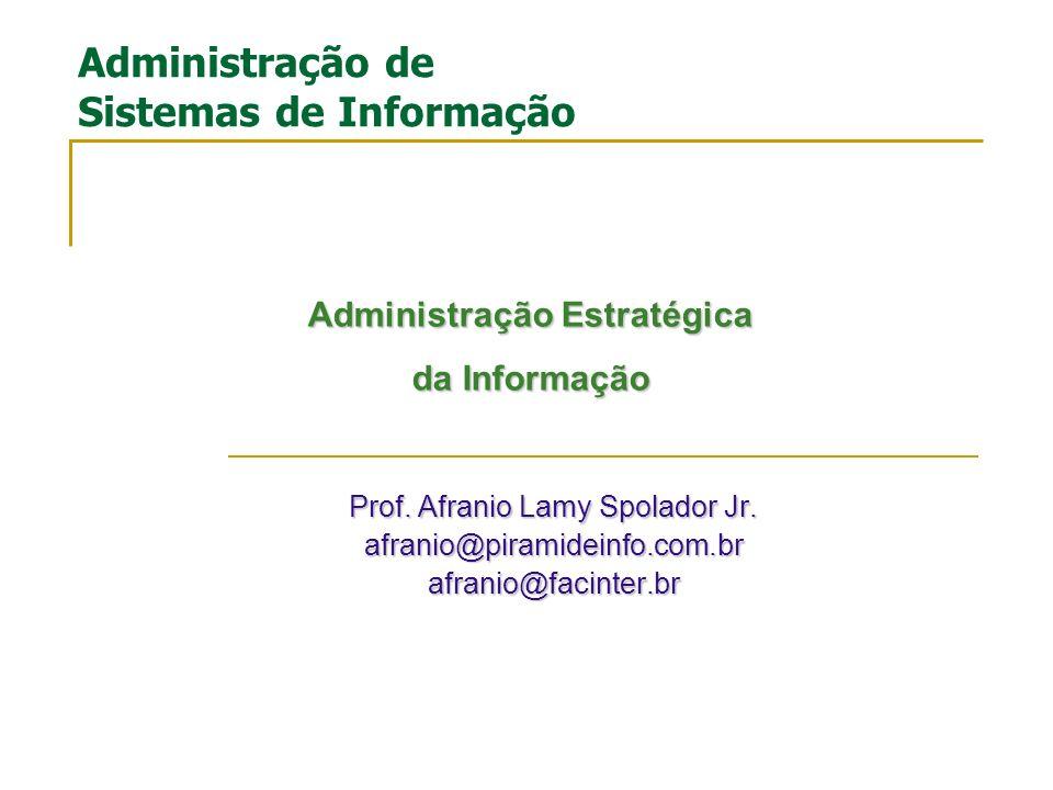 Prof. Afranio Lamy Spolador Jr. afranio@piramideinfo.com.brafranio@facinter.br Administração de Sistemas de Informação Administração Estratégica da In