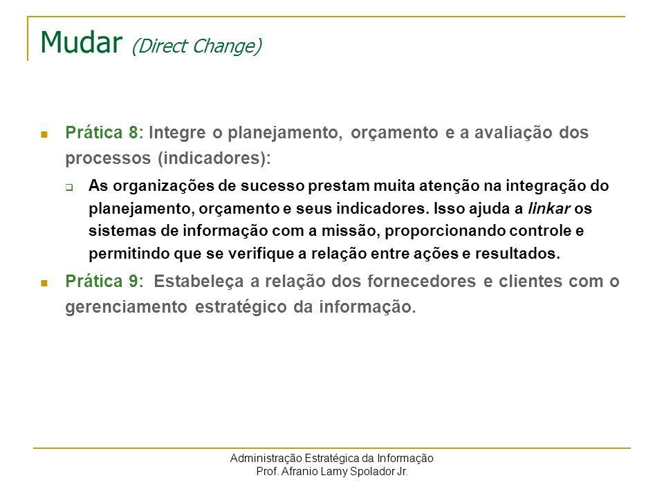 Administração Estratégica da Informação Prof. Afranio Lamy Spolador Jr. Mudar (Direct Change) Prática 8: Integre o planejamento, orçamento e a avaliaç