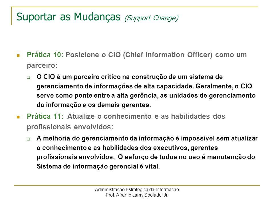 Administração Estratégica da Informação Prof. Afranio Lamy Spolador Jr. Suportar as Mudanças (Support Change) Prática 10: Posicione o CIO (Chief Infor