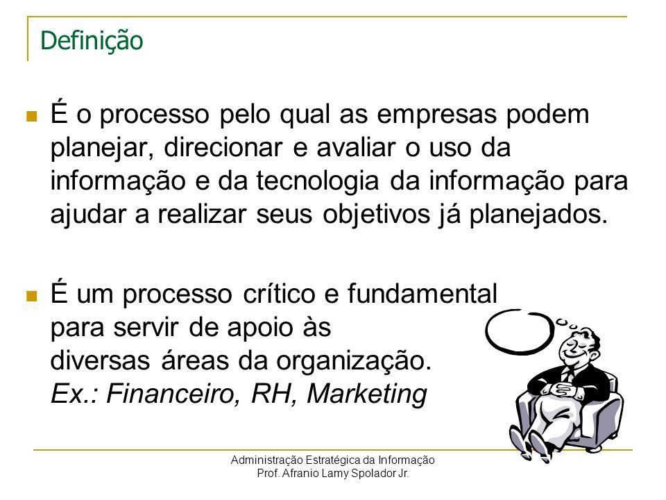 Administração Estratégica da Informação Prof. Afranio Lamy Spolador Jr. Definição É o processo pelo qual as empresas podem planejar, direcionar e aval