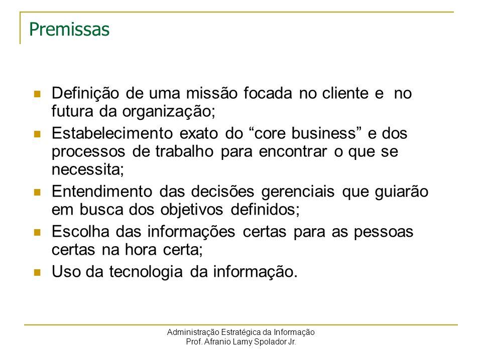 Administração Estratégica da Informação Prof. Afranio Lamy Spolador Jr. Premissas Definição de uma missão focada no cliente e no futura da organização