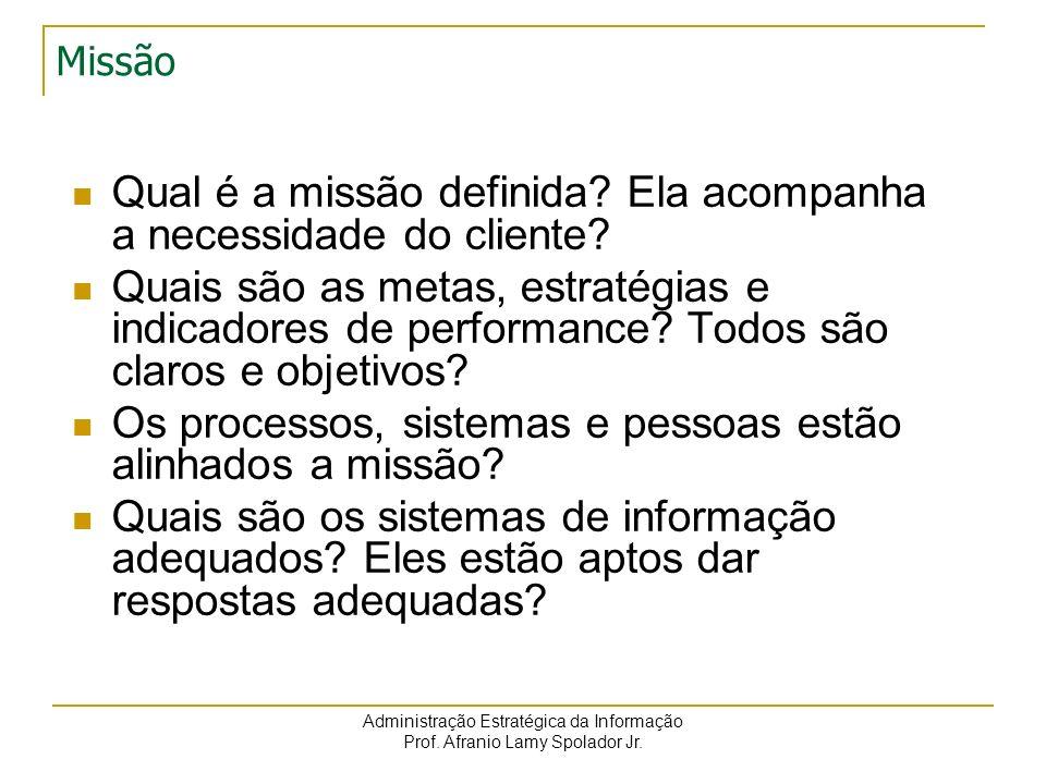 Administração Estratégica da Informação Prof. Afranio Lamy Spolador Jr. Missão Qual é a missão definida? Ela acompanha a necessidade do cliente? Quais