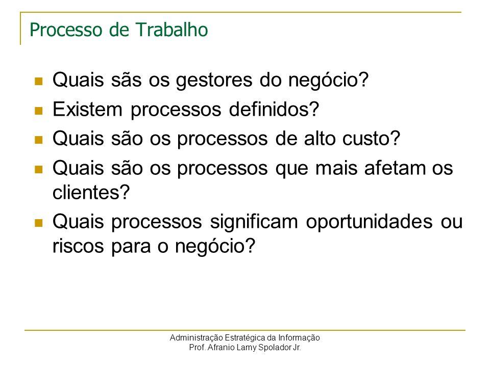 Administração Estratégica da Informação Prof. Afranio Lamy Spolador Jr. Processo de Trabalho Quais sãs os gestores do negócio? Existem processos defin