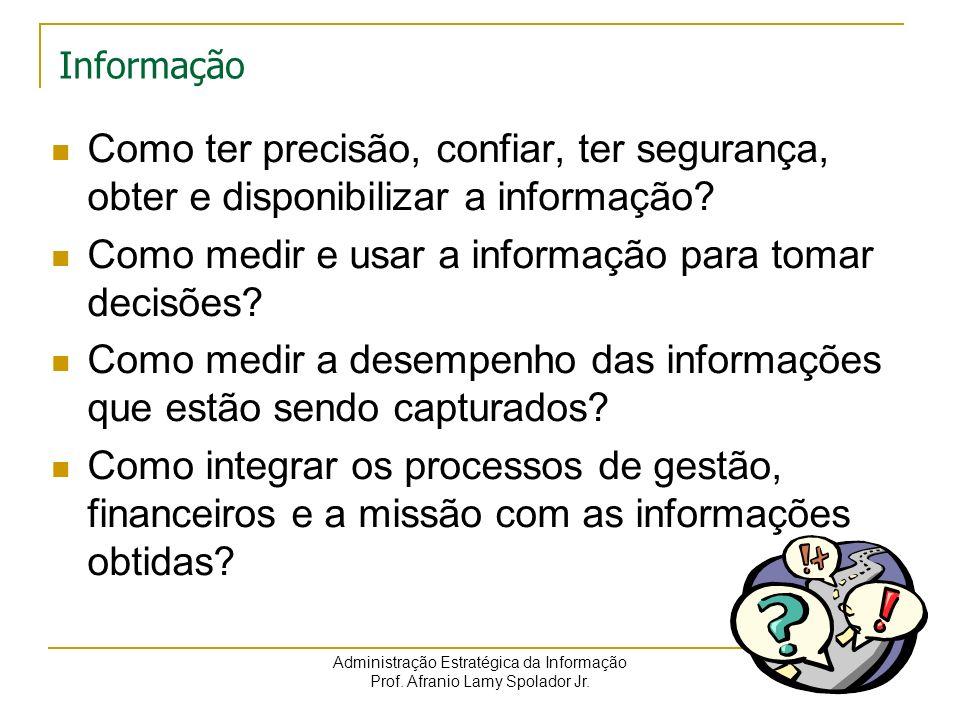 Administração Estratégica da Informação Prof. Afranio Lamy Spolador Jr. Informação Como ter precisão, confiar, ter segurança, obter e disponibilizar a