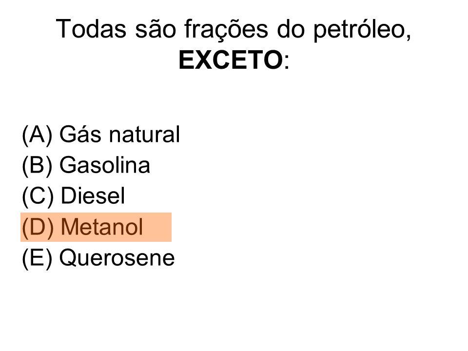 Todas são frações do petróleo, EXCETO: (A) Gás natural (B) Gasolina (C) Diesel (D) Metanol (E) Querosene