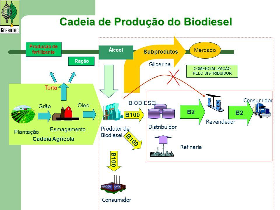 Cadeia Agrícola Plantação Esmagamento Grão Óleo Subprodutos Mercado Álcool BIODIESEL Glicerina Torta Distribuidor Revendedor Refinaria B2 Produção de