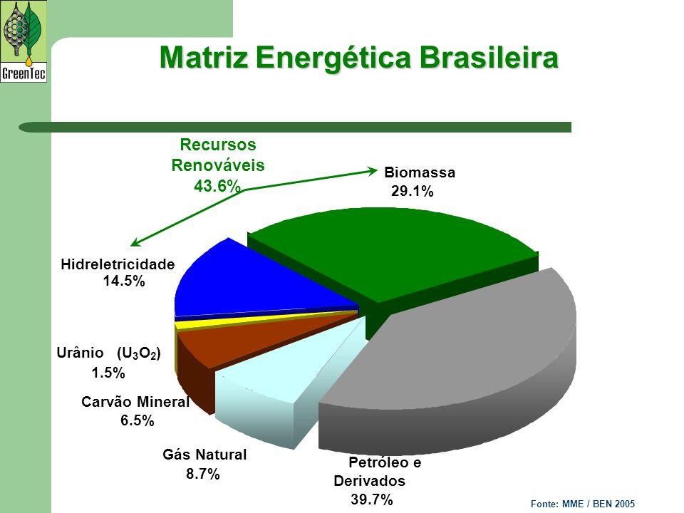 Matriz Energética Brasileira Biomassa 29.1% Petróleo e Derivados 39.7% Gás Natural 8.7% Carvão Mineral 6.5% Hidreletricidade 14.5% Urânio (U 3 O 2 ) 1