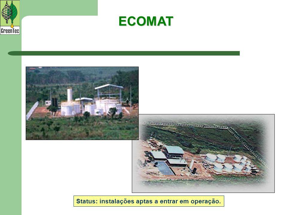 ECOMAT Status: instalações aptas a entrar em operação.