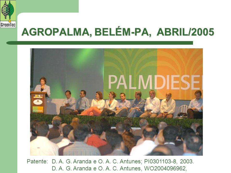 Patente:D. A. G. Aranda e O. A. C. Antunes; PI0301103-8, 2003. D. A. G. Aranda e O. A. C. Antunes, WO2004096962, AGROPALMA, BELÉM-PA, ABRIL/2005