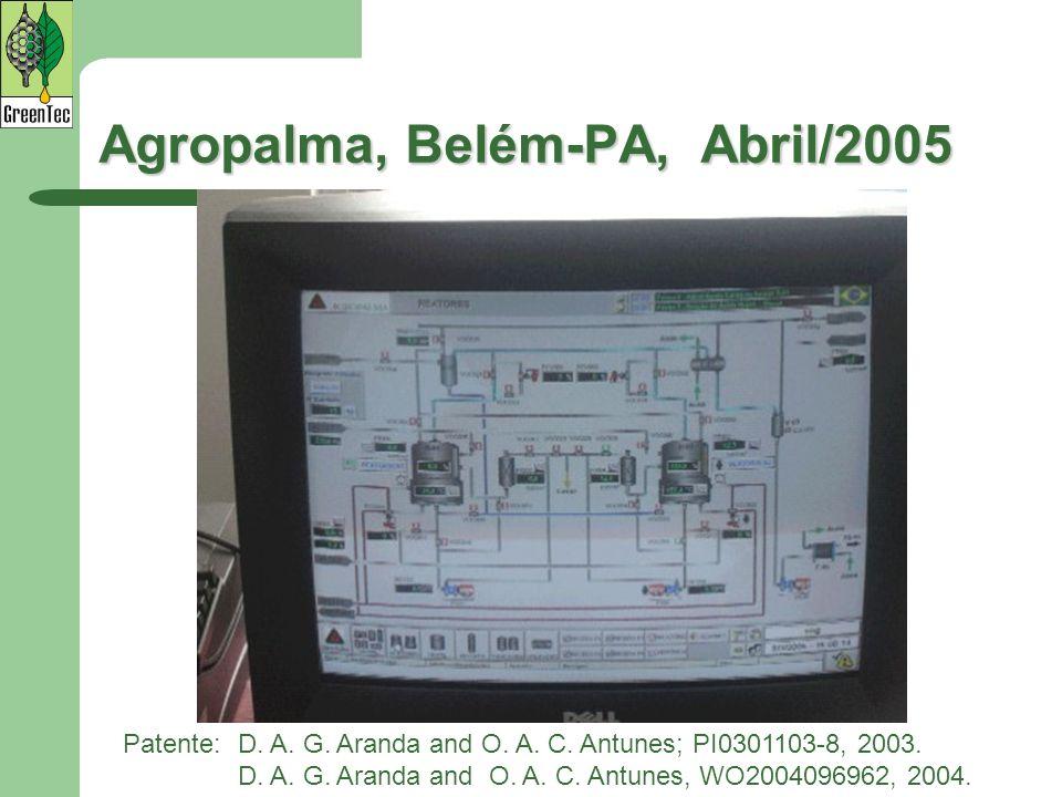 Patente:D. A. G. Aranda and O. A. C. Antunes; PI0301103-8, 2003. D. A. G. Aranda and O. A. C. Antunes, WO2004096962, 2004. Agropalma, Belém-PA, Abril/