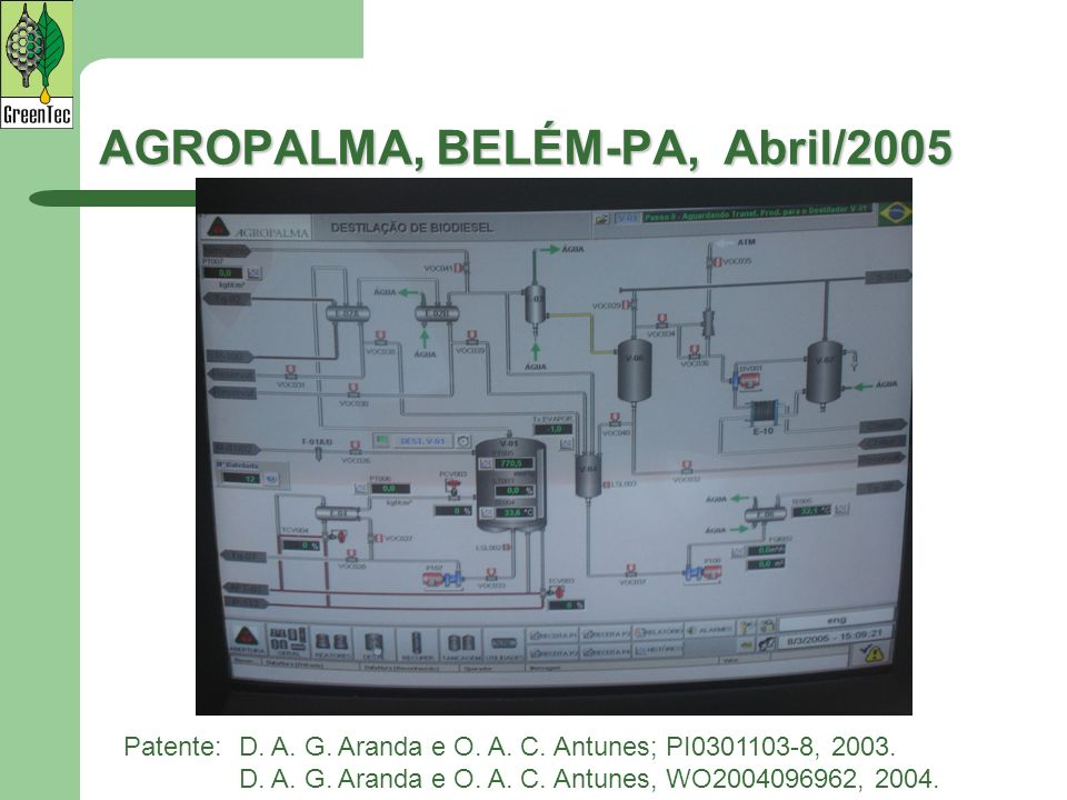 AGROPALMA, BELÉM-PA, Abril/2005 Patente:D. A. G. Aranda e O. A. C. Antunes; PI0301103-8, 2003. D. A. G. Aranda e O. A. C. Antunes, WO2004096962, 2004.