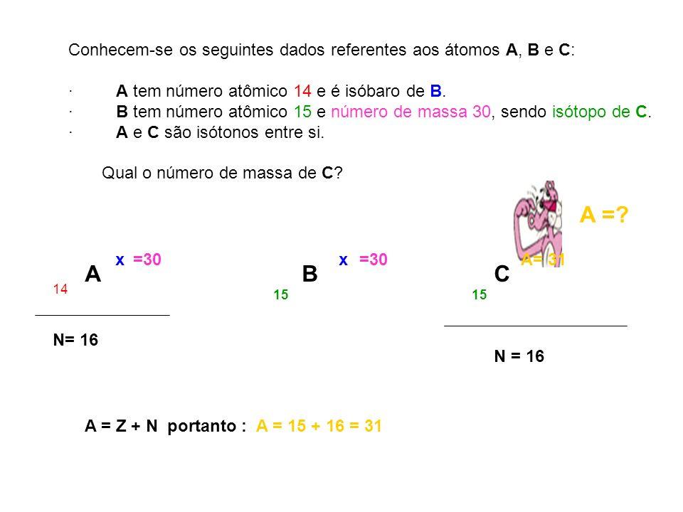 Conhecem-se os seguintes dados referentes aos átomos A, B e C: · A tem número atômico 14 e é isóbaro de B. · B tem número atômico 15 e número de massa