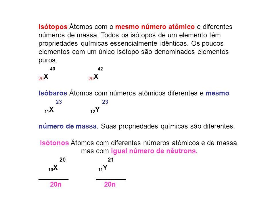 Isótopos Átomos com o mesmo número atômico e diferentes números de massa. Todos os isótopos de um elemento têm propriedades químicas essencialmente id