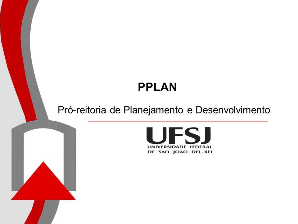 Modelo para o Sistema de Planejamento da UFSJ – SISPLANPrazo de Vigência (anos) Observações GESTÃOINSTITUCIONALGESTÃOINSTITUCIONAL Plano de Desenvolvimento Institucional - PDI10Institucional/PPLAN Projeto Pedagógico Institucional - PPIIndetermin ado Institucional/PROEN Plano de Gestão4Construído para o período de gestão do Reitor (PPLAN) Plano de Atividades1Estatutário (PPLAN) Planos (diversos)*Elaborados por diversos, inclusive pode ser em parcerias Projetos (diversos)* Programas (diversos)* Orçamento Institucional1PPLAN Relatório de Gestão1PPLAN Relatórios Diversos*Elaborados por diversos Auto - Avaliação Institucional1CPA Avaliação da Instituição Avaliação do Desempenho do Aluno (ENADE) Avaliação dos Cursos 3Ciclo SINAES - INEP Sistema de Informações GerenciaisPPLAN