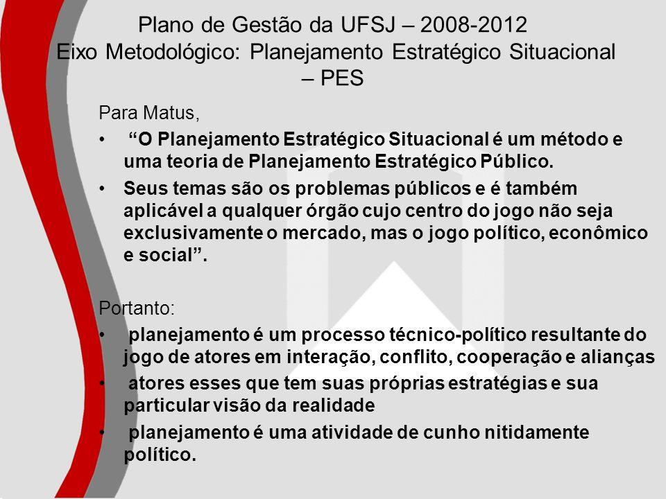 Plano de Gestão da UFSJ – 2008-2012 Eixo Metodológico: Planejamento Estratégico Situacional – PES Para Matus, O Planejamento Estratégico Situacional é