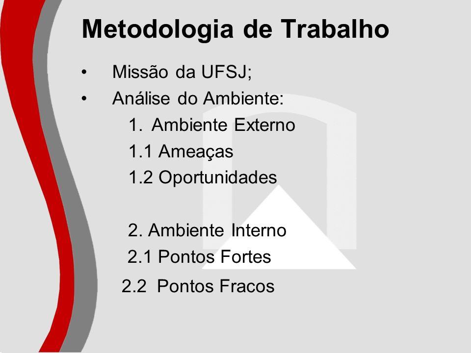 Metodologia de Trabalho Missão da UFSJ; Análise do Ambiente: 1.Ambiente Externo 1.1 Ameaças 1.2 Oportunidades 2. Ambiente Interno 2.1 Pontos Fortes 2.
