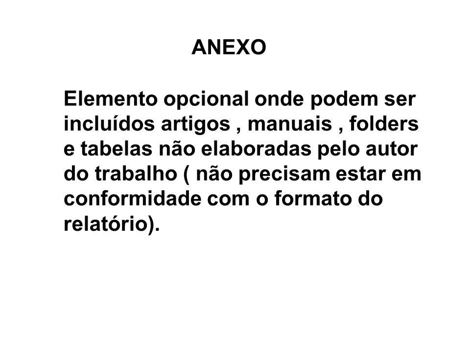 ANEXO Elemento opcional onde podem ser incluídos artigos, manuais, folders e tabelas não elaboradas pelo autor do trabalho ( não precisam estar em con