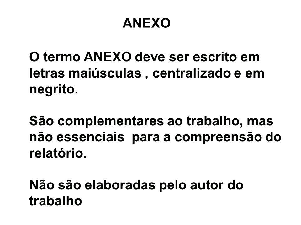 ANEXO O termo ANEXO deve ser escrito em letras maiúsculas, centralizado e em negrito. São complementares ao trabalho, mas não essenciais para a compre