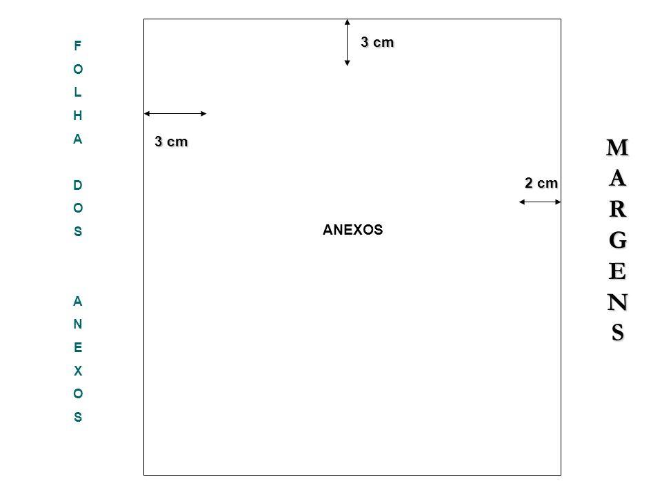 FOLHADOSANEXOSFOLHADOSANEXOS 3 cm 3 cm 2 cm 2 cm 3 cm ANEXOS MARGENSMARGENSMARGENSMARGENS