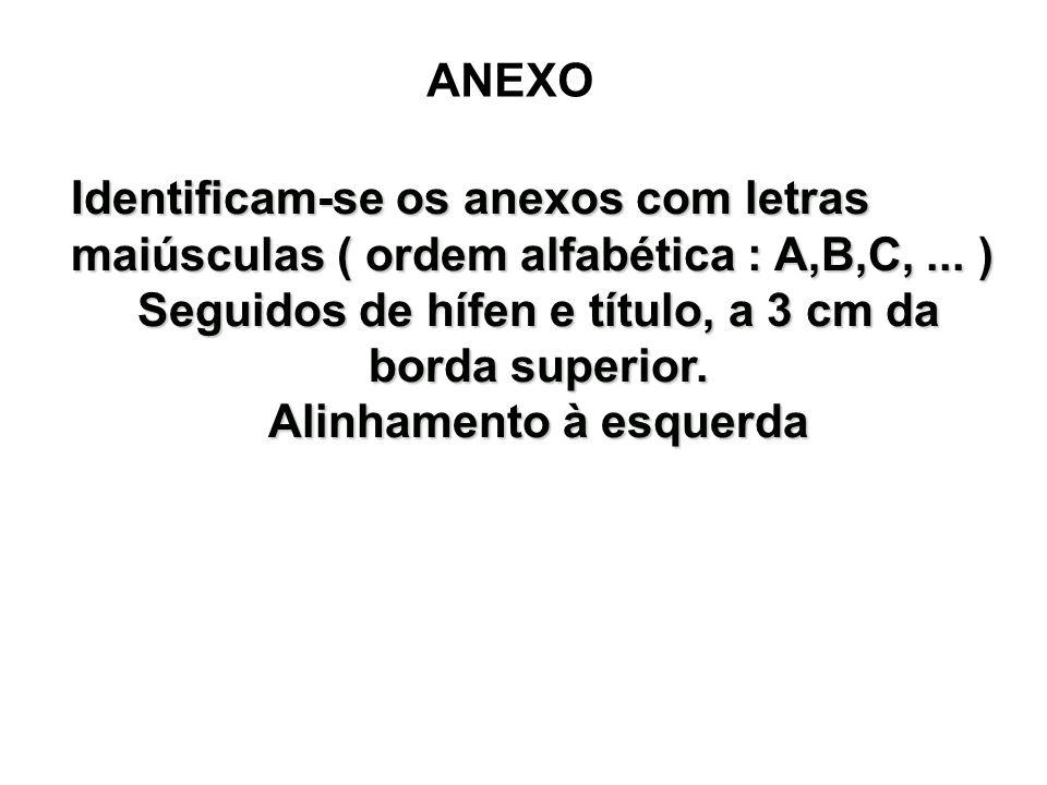 ANEXO Identificam-se os anexos com letras maiúsculas ( ordem alfabética : A,B,C,... ) Seguidos de hífen e título, a 3 cm da borda superior. Alinhament