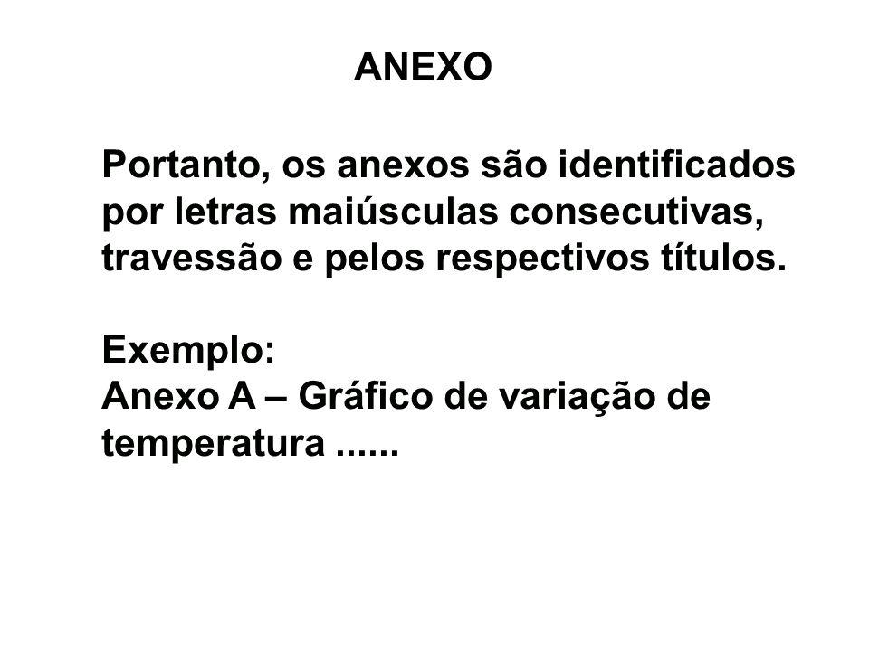 ANEXO Portanto, os anexos são identificados por letras maiúsculas consecutivas, travessão e pelos respectivos títulos. Exemplo: Anexo A – Gráfico de v