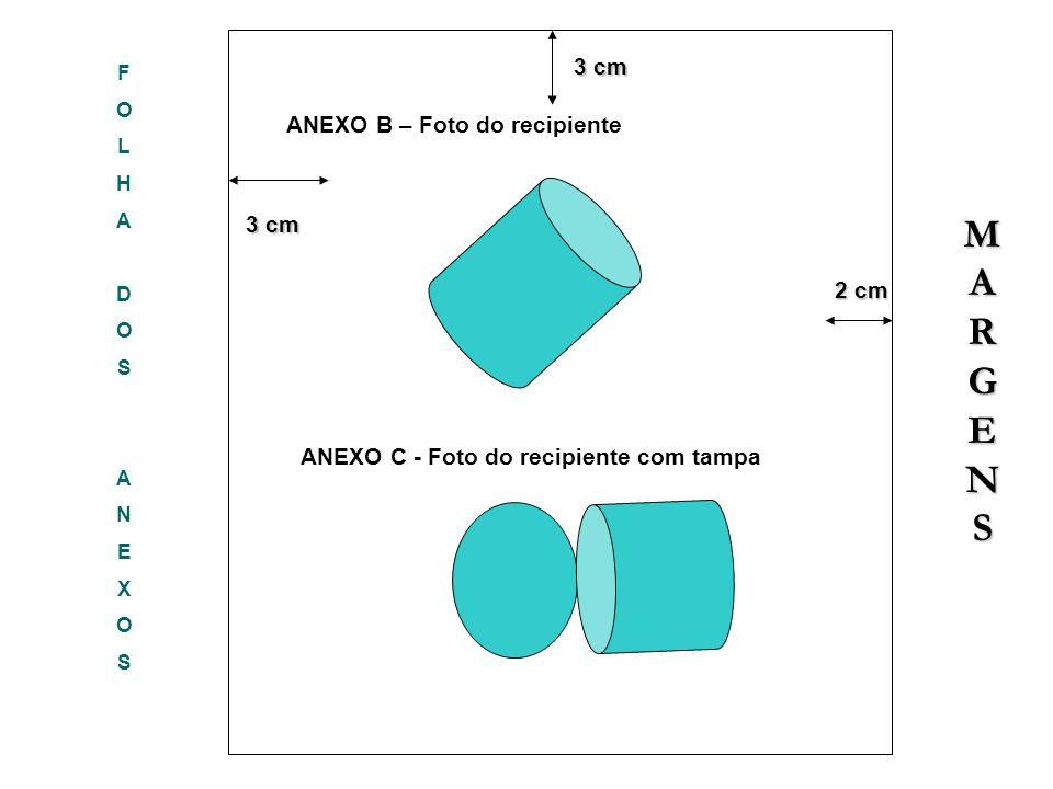 FOLHADOSANEXOSFOLHADOSANEXOS 3 cm 3 cm 2 cm 2 cm 3 cm ANEXO B – Foto do recipiente MARGENSMARGENSMARGENSMARGENS ANEXO C - Foto do recipiente com tampa