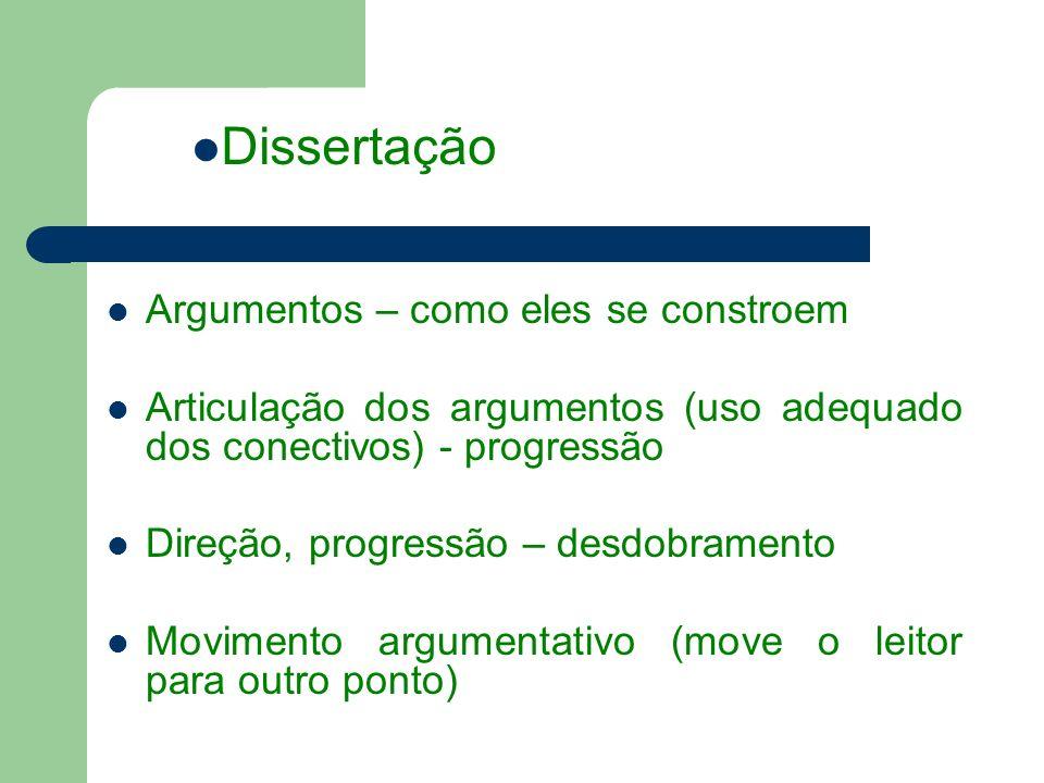 Argumentos – como eles se constroem Articulação dos argumentos (uso adequado dos conectivos) - progressão Direção, progressão – desdobramento Movimento argumentativo (move o leitor para outro ponto) Dissertação