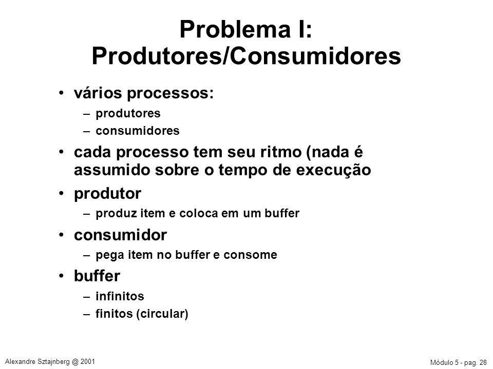Módulo 5 - pag. 28 Alexandre Sztajnberg @ 2001 Problema I: Produtores/Consumidores vários processos: –produtores –consumidores cada processo tem seu r