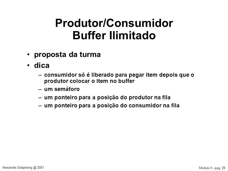 Módulo 5 - pag. 29 Alexandre Sztajnberg @ 2001 Produtor/Consumidor Buffer Ilimitado proposta da turma dica –consumidor só é liberado para pegar item d
