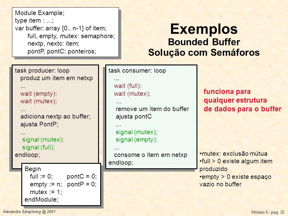Módulo 5 - pag. 32 Alexandre Sztajnberg @ 2001 Exemplos Bounded Buffer Solução com Semáforos Module Example; type item :...; var buffer: array [0.. n-