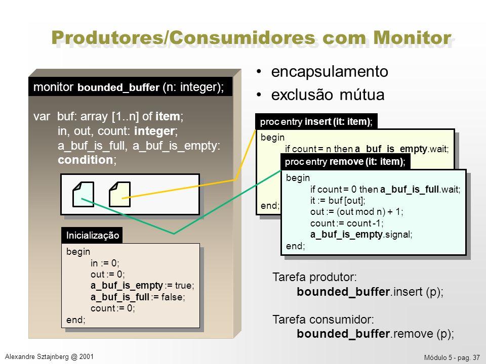 Módulo 5 - pag. 37 Alexandre Sztajnberg @ 2001 Produtores/Consumidores com Monitor encapsulamento exclusão mútua Tarefa produtor: bounded_buffer.inser
