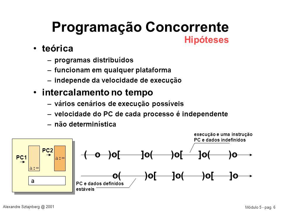 Módulo 5 - pag. 6 Alexandre Sztajnberg @ 2001 Programação Concorrente Hipóteses teórica –programas distribuídos –funcionam em qualquer plataforma –ind