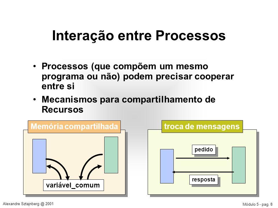 Módulo 5 - pag. 8 Alexandre Sztajnberg @ 2001 Interação entre Processos Processos (que compõem um mesmo programa ou não) podem precisar cooperar entre