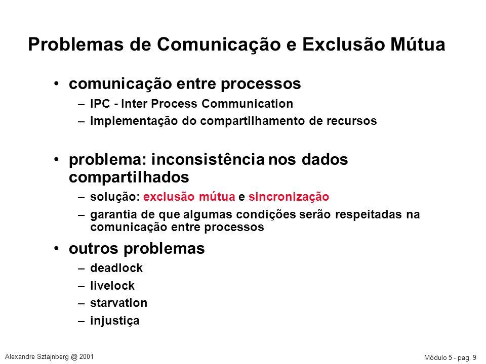 Módulo 5 - pag. 9 Alexandre Sztajnberg @ 2001 Problemas de Comunicação e Exclusão Mútua comunicação entre processos –IPC - Inter Process Communication