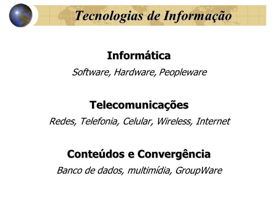 Tecnologias de Informação Informática Software, Hardware, PeoplewareTelecomunicações Redes, Telefonia, Celular, Wireless, Internet Conteúdos e Converg