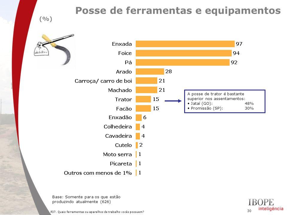 30 P37. Quais ferramentas ou aparelhos de trabalho vocês possuem? Posse de ferramentas e equipamentos (%) Base: Somente para os que estão produzindo a