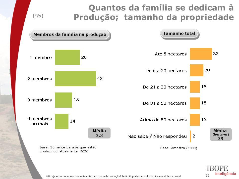 32 P39. Quantos membros da sua família participam da produção? P41A. E qual o tamanho da área total desta terra? Quantos da família se dedicam à Produ