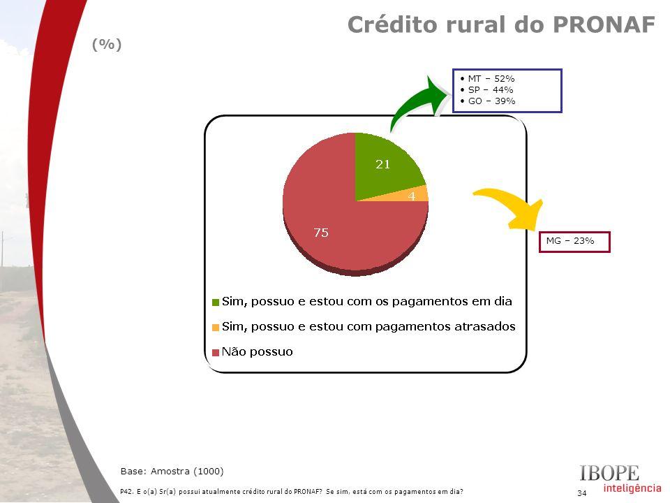 34 P42. E o(a) Sr(a) possui atualmente crédito rural do PRONAF? Se sim, está com os pagamentos em dia? Base: Amostra (1000) Crédito rural do PRONAF (%