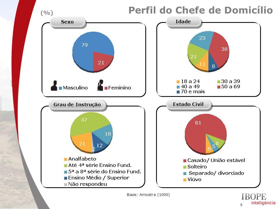 5 Perfil do Chefe de Domicílio Idade SexoGrau de InstruçãoEstado Civil Base: Amostra (1000) (%)