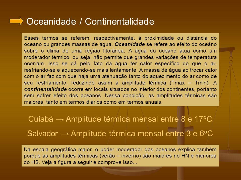 Oceanidade / Continentalidade Esses termos se referem, respectivamente, à proximidade ou distância do oceano ou grandes massas de água. Oceanidade se