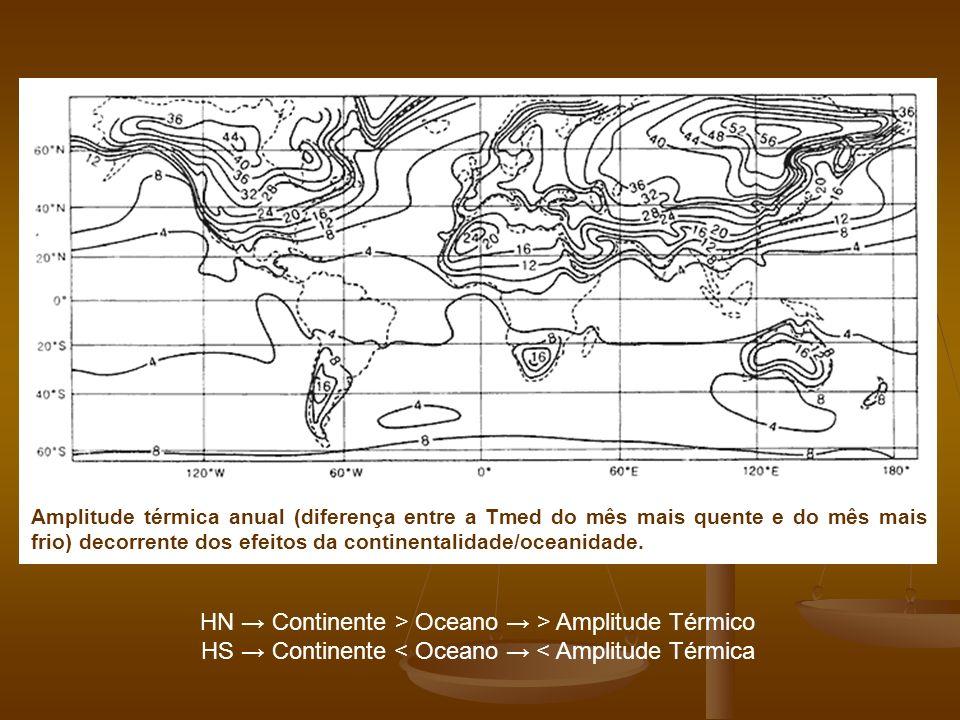 Amplitude térmica anual (diferença entre a Tmed do mês mais quente e do mês mais frio) decorrente dos efeitos da continentalidade/oceanidade. HN Conti