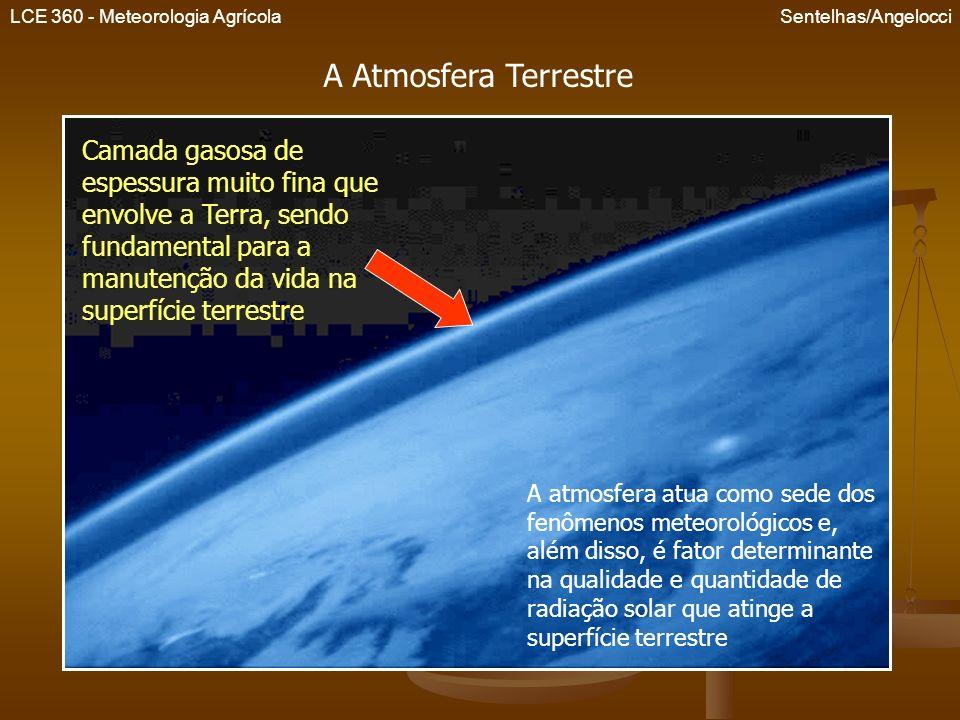 LCE 360 - Meteorologia Agrícola Sentelhas/Angelocci A atmosfera pode ser dividida de acordo com suas características físicas e químicas Termosfera Mesosfera Estratosfera – onde encontra-se a maior concentração de O 3 Troposfera –onde ocorrem os fenômenos meteorológicos Estrutura da atmosfera