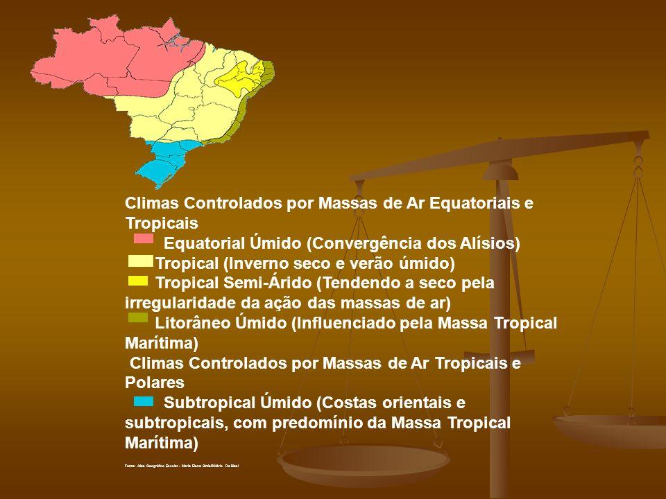 Climas Controlados por Massas de Ar Equatoriais e Tropicais Equatorial Úmido (Convergência dos Alísios) Tropical (Inverno seco e verão úmido) Tropical