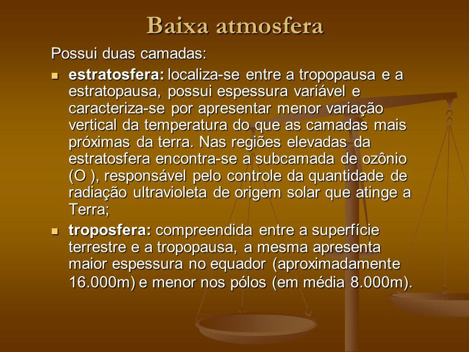 Baixa atmosfera Possui duas camadas: estratosfera: localiza-se entre a tropopausa e a estratopausa, possui espessura variável e caracteriza-se por apr
