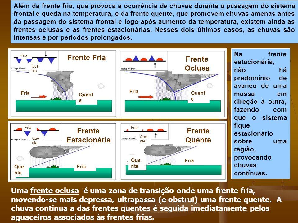 Além da frente fria, que provoca a ocorrência de chuvas durante a passagem do sistema frontal e queda na temperatura, e da frente quente, que promovem