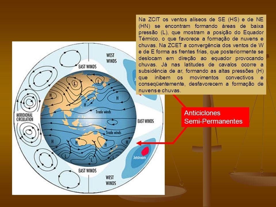 Anticiclones Semi-Permanentes Na ZCIT os ventos alíseos de SE (HS) e de NE (HN) se encontram formando áreas de baixa pressão (L), que mostram a posiçã