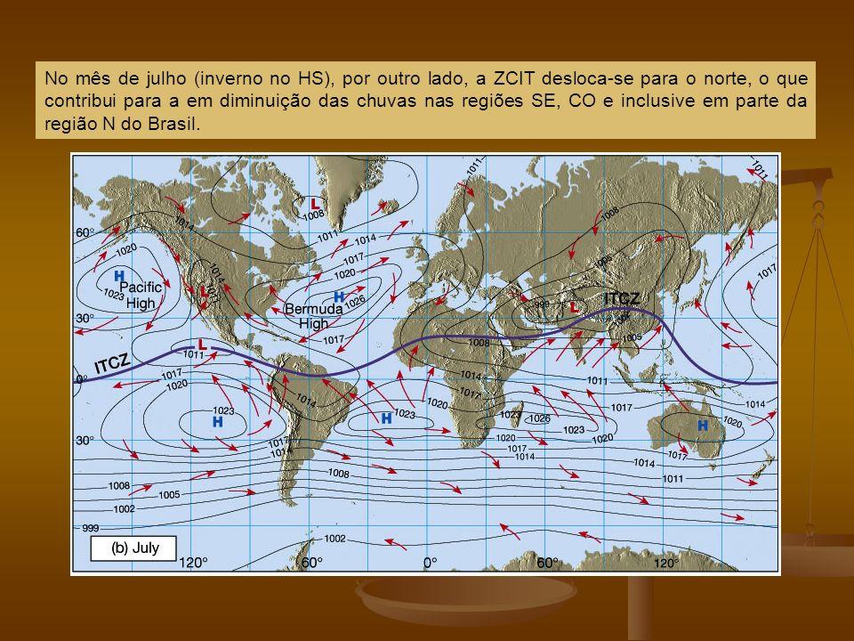 No mês de julho (inverno no HS), por outro lado, a ZCIT desloca-se para o norte, o que contribui para a em diminuição das chuvas nas regiões SE, CO e